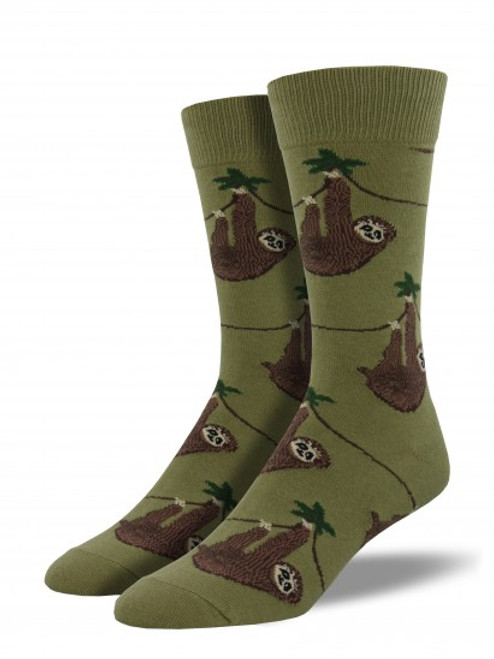 Sloth Socks - Olive