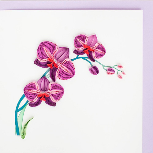 Purple Orchid Quilling Card