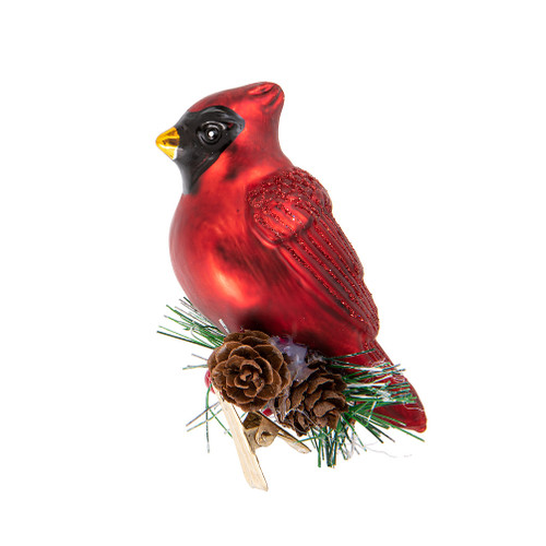 Cardinal with Fir Clip Ornament