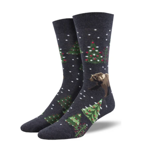 Men's Beary Christmas Socks - Charcoal