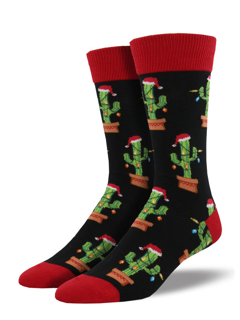 Men's Christmas Cactus Socks - Black