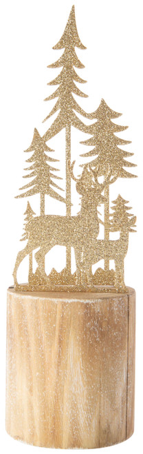 Gold Metal Reindeer in Forest Silhouette
