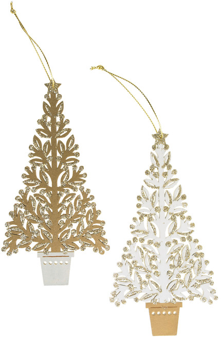 Cream and Gold Topiary Tree Ornament - Assorted