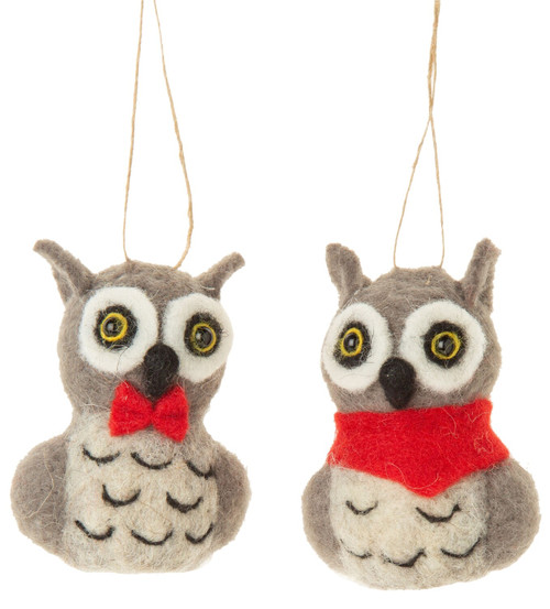 Felt Owl Ornament - Assorted