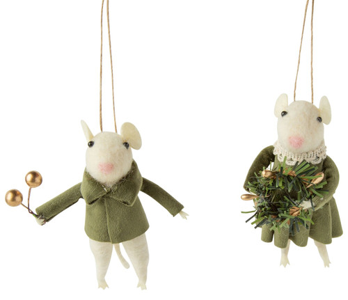 Felt Mouse in Velvet Ornament - Assorted