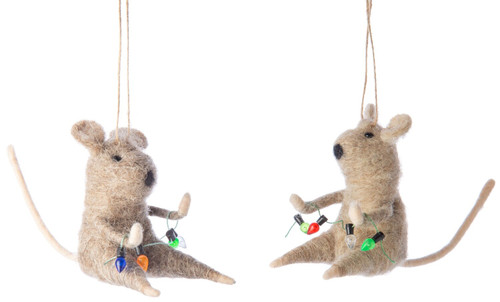 Felt Mice with Lights Ornament - Assorted