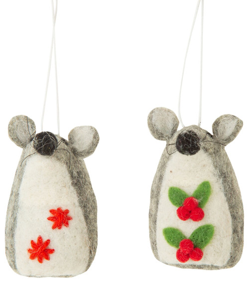 Festive Felt Mouse Ornament - Assorted