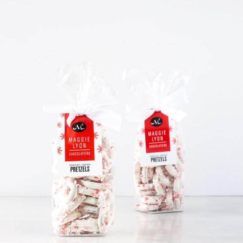 Peppermint and White Chocolate Covered Mini Pretzels