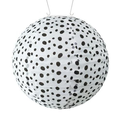 Black/White Micro Dot Round Solar Lantern