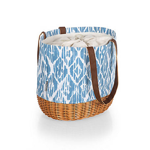 Blue Moroccan Watercolor Coronado Canvas and Willow Basket Tote