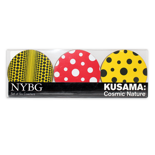This fun yellow and black stripe polka dot melamine dish features one of the official patterns from the New York Botanical Garden's Yayoi Kusama: Cosmic Nature exhibition.