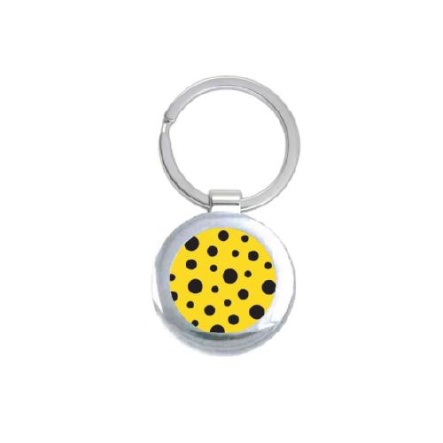 Yayoi Kusama Yellow Polka Dot Round Keychain