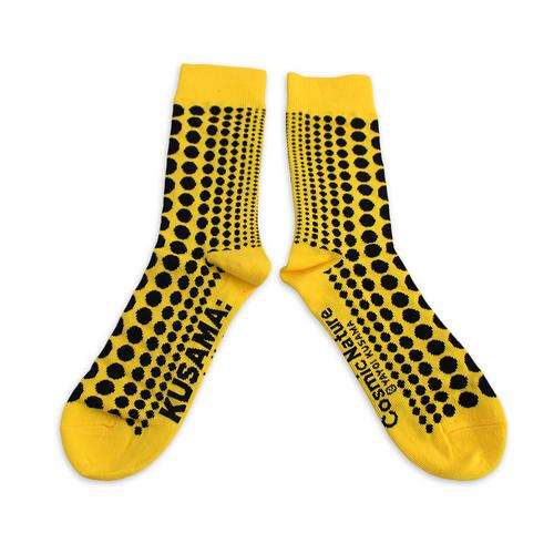 Yayoi Kusama Yellow Striped Cosmic Nature Socks