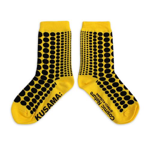 Yayoi Kusama Youth Yellow Striped Cosmic Nature Socks