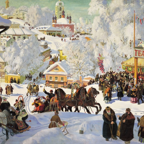 A beautiful painting by celebrated Russian artist Kustodiev, conveys the atmosphere of a Russian festival, full of snow-covered streets, horse-drawn sleds and excitement. Each pack has ten cards with Christmas greetings in English and Russian, 174 x 118 mm, envelopes included.