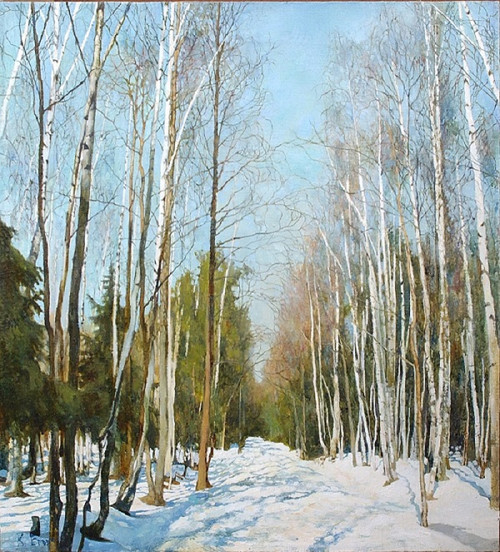 A beautiful landscape of a Russian forest -the card is reproduced by kind permission of the artist Victor Egorov. Each pack has ten cards with Christmas greetings in Russian and English, 174 x 118 mm, envelopes included.