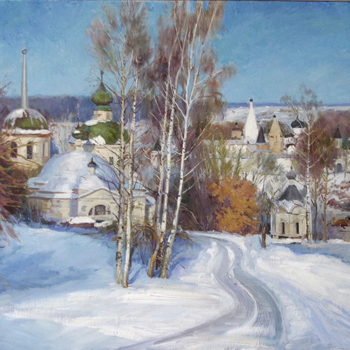 'A view of Staritsa medieval town near Tver'by the well-known Russian artist Elena Philipova, who graduated with Honours from the Repin Academy of Arts, St Petersburg.Each pack has ten cards with Christmas greetings in English and Russian, 174 x 118 mm, envelopes included.