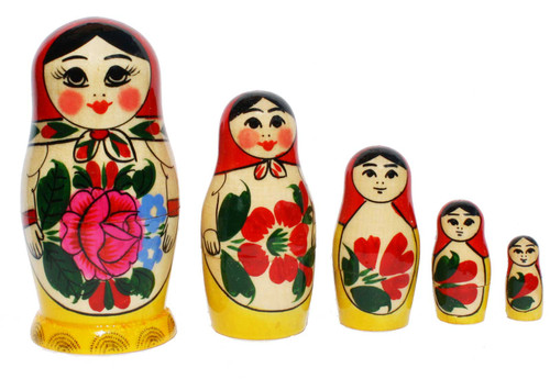 Style Semyonov is the classic Russian matryoshka design, its most distinctive feature is a bright bouquet of flowers, it makes these stacking dolls easy to recognise. These dolls are handcrafted and handpainted in Semyonov (which makes each item unique) from wood of Linden and Birch trees.Set of 5 autentic dolls makes a wonderful gift. Largest doll is 11cm (4.3 inches) tall and 5.5 cm (2.16 inches) wide.