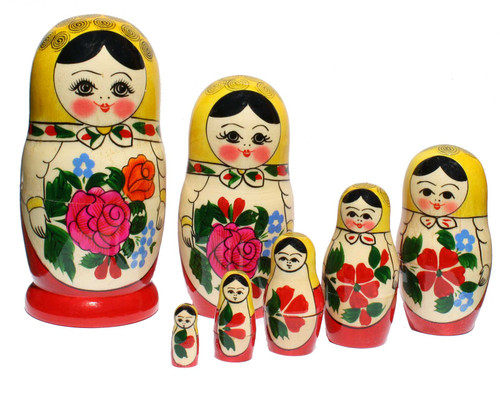 Style Semyonov is the classic Russian matryoshka design, its most distinctive feature is a bright bouquet of flowers, it makes these stacking dolls easy to recognise. These dolls are handcrafted and handpainted in Semyonov (which makes each item unique) from wood of Linden and Birch trees.Largest doll is 15cm (5.9 inches) tall and 7.5 cm (2.9 inches) wide.Set of 7 autentic dolls is the most popular set of matryoshka dolls and makes a wonderful gift.