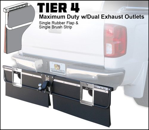 Tier 4 Aluminum (Maximum Duty Single Rubber Flap and Single Brush Strip With Dual Exhaust Outlets)