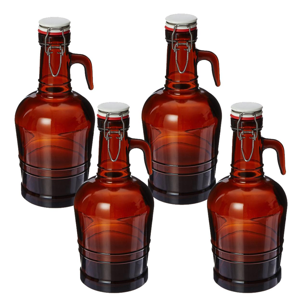 2 Liter Growler with Metal Handle Amber