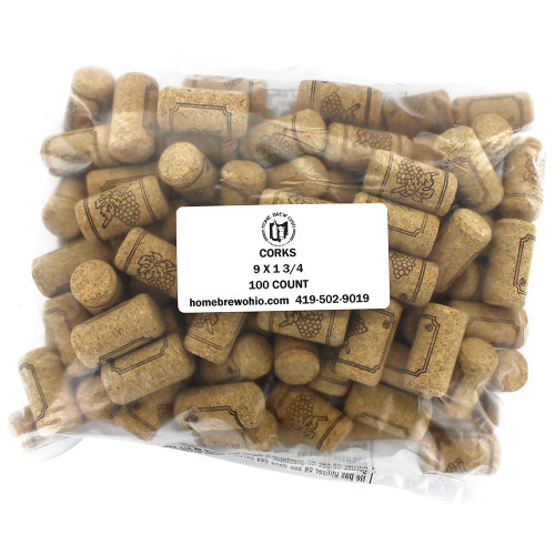 "#9 Straight Corks 15/16"" x 1 3/4"" - Bag of 100"