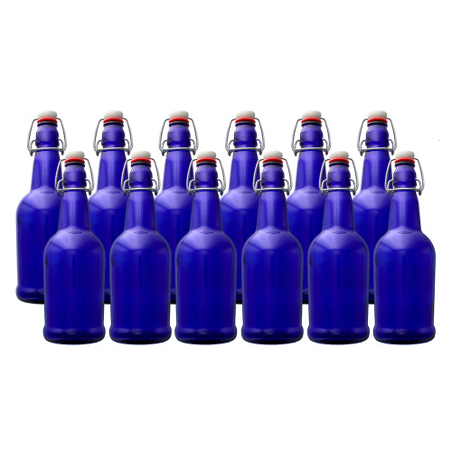 EZ Cap Bottles - Cobalt Blue Case of 12 - 1 L