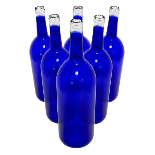 6 - Cobalt Blue Bordeaux Flat Bottom 1.5 Liter Glass Bottles for Bottle Trees, Crafting, Parties, Wedding Center Piece,