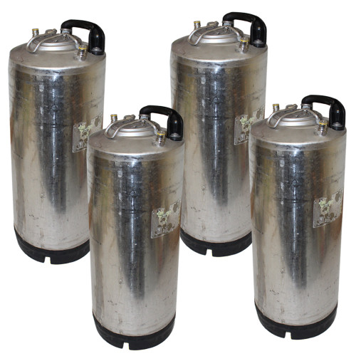 Single Handle Ball Lock Corny Keg, 5 Gallon, Used Factory Reconditioned (Set of 4)