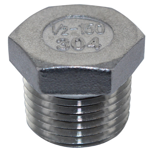"""1/2"""" NPT Stainless Steel Hex Plug For Brew Kettles"""