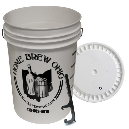 Home Brew Ohio 6.5 Gallon plastic fermenter with lid and Pail Opening Tool