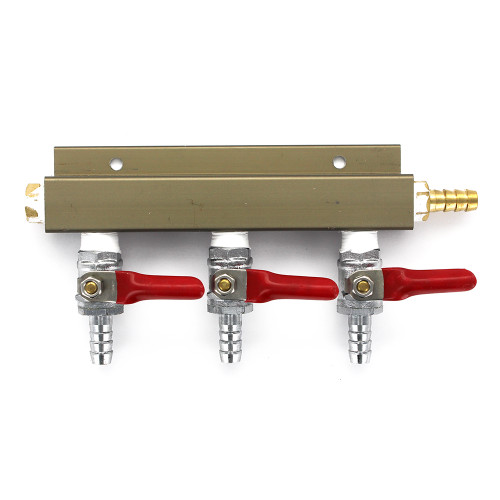 """3-way 5/16"""" Barb CO2 Splitter Distributor Manifold with integrated check valves"""