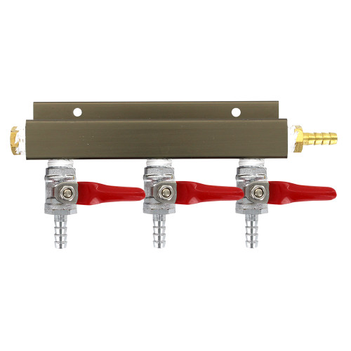 """3-way 1/4"""" Barb CO2 Splitter Distributor Manifold with integrated check valves"""