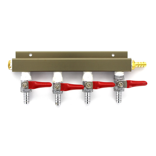 """4-way 5/16"""" Barb CO2 Splitter Distributor Manifold with integrated check valves"""