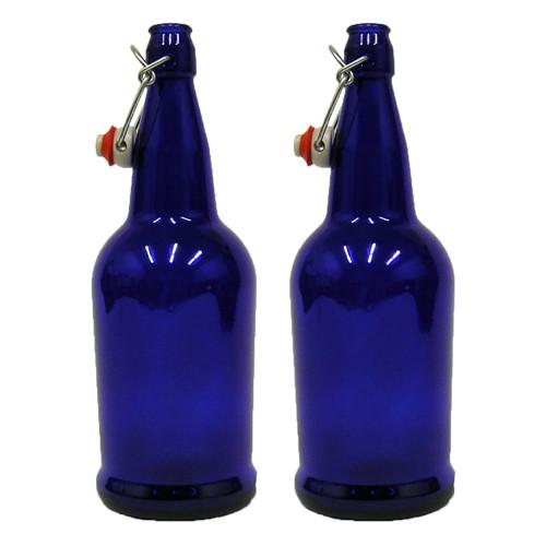 2 X 32 oz. Cobalt Blue EZ Cap Kombucha Bottle