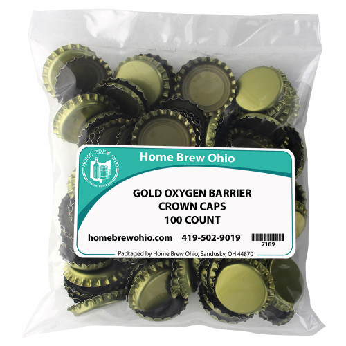Home Brew Ohio Gold Crown Caps 100 count