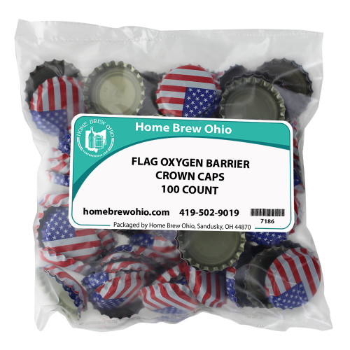 Home Brew Ohio American Flag Crown Caps 100 count