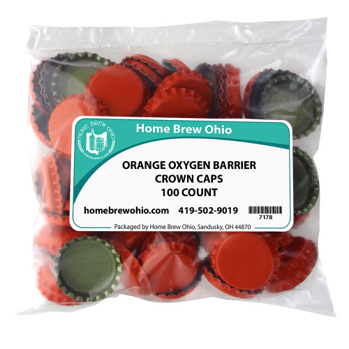 Home Brew Ohio Orange Crown Caps 100 count