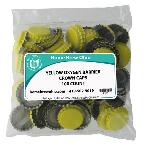 Home Brew Ohio Yellow Crown Caps 100 count