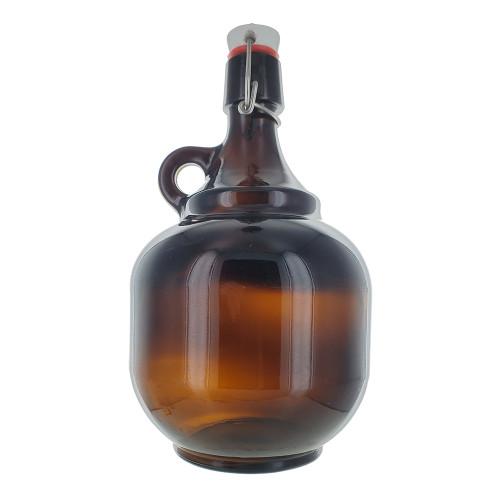 2 Liter Amber Flip Top Style Growler