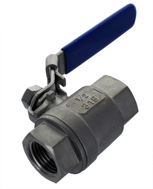 """Two Piece Stainless Steel Ball Valve 1/2"""" NPT"""