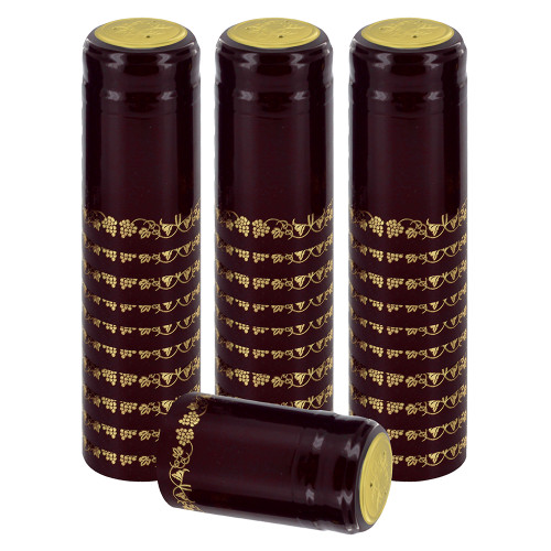 Home Brew Ohio Burgundy With Gold Grapes PVC Shrink Capsules 30 count