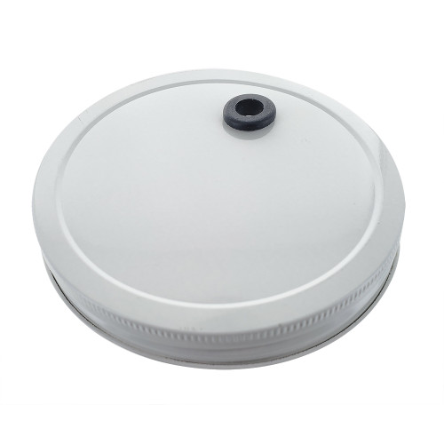 Drilled Metal 110mm Lid with Grommet For One Gallon And 64oz Wide Mouth Glass Jar