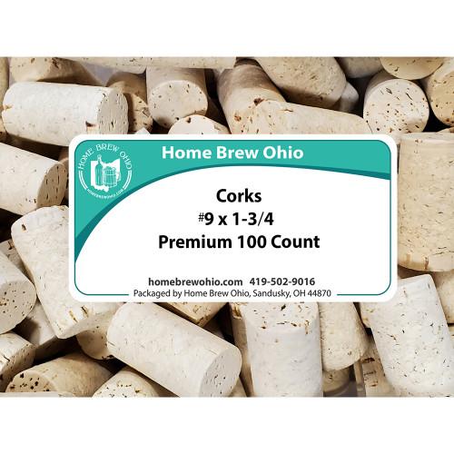 Home Brew Ohio 9 X 1 3/4 Premium Wine Corks 100 count