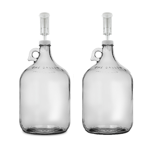 Home Brew Ohio One Gallon Glass Jug with 38mm Cap with Hole and Airlock Set of 2