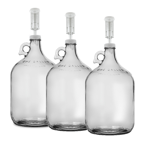 Home Brew Ohio One Gallon Glass Jug with 38mm Cap with Hole and Airlock Set of 3