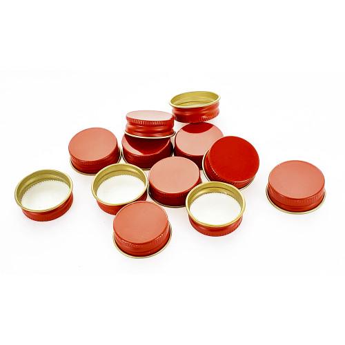 Red 28mm Metal Screw Caps, 12ct