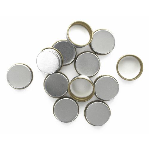 Silver 28mm Metal Screw Caps, 12ct