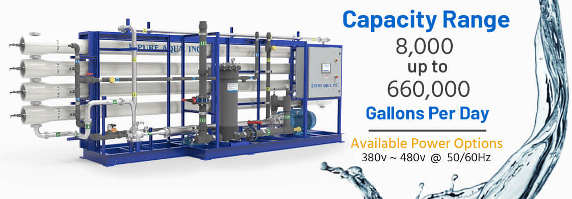 seawater desalination reverse osmosis industrial systems SWRO 8000-500000 gpd specifications