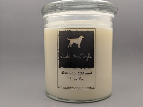 Norwegian Elkhound - Frozen Pine 16oz candle